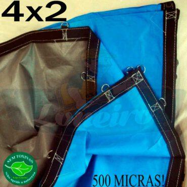Lona 4,0 x 2,0m Loneiro 500 Micras PPPE Azul e Cinza com argolas