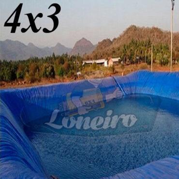 Lona 4,0 x 3,0m Azul 300 Micras Impermeável Atóxica Lagos Artificiais Tanques de Peixes Reservatórios Água Potável Cisterna Ranário Poços