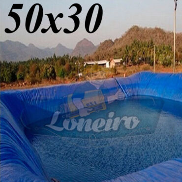 Lona 50,0 x 30,0m Azul 300 Micras Impermeável Atóxica Lagos Artificiais Tanques de Peixes Reservatórios Água Potável Cisterna Ranário Poços