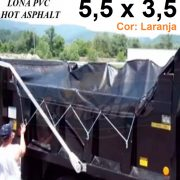 Lona 5,5 x 3,5m Laranja PVC HOT ASPHALT RESISTÊNCIA de + 200°C Caminhão Vinil Preto Fosco Transporte Massa Asfalto Quente CBUQ + Extensores Elásticos