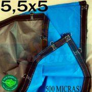 Lona 5,5 x 5,0m Loneiro 500 Micras PPPE Azul e Cinza com argolas