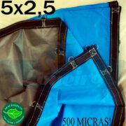 Lona 5,0 x 2,5m Loneiro 500 Micras PPPE Azul e Cinza com argolas