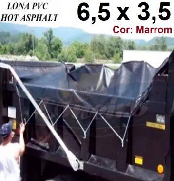 Lona 6,5 x 3,5m Marrom PVC HOT ASPHALT RESISTÊNCIA de + 200°C Caminhão Vinil Lonil Transporte Massa Asfalto Quente CBUQ + 30 Extensores 40cm