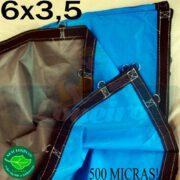 Lona 6,0 x 3,5m Loneiro 500 Micras PPPE Azul e Cinza com argolas