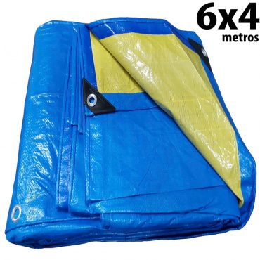 Lona 6,0 x 4,0m Azul e Amarela 150 Micra + ilhos e cantoneiras para cobertura proteção capa básica de polietileno impermeável com duas cores