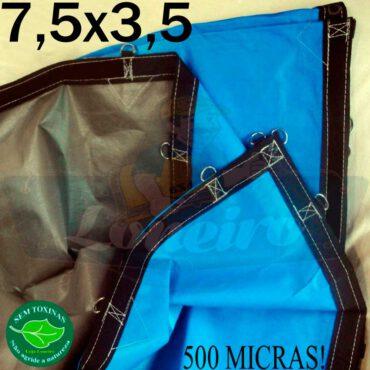 Lona 7,5 x 3,5m Loneiro 500 Micras PPPE Azul e Cinza com argolas