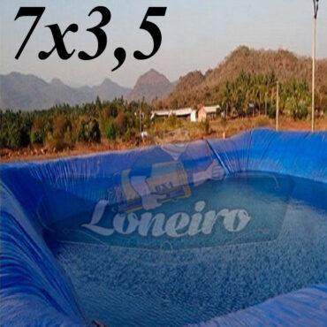 Lona 7,0 x 3,5m Azul 300 Micras Impermeável Atóxica Lagos Artificiais Tanques de Peixes Reservatórios Água Potável Cisterna Ranário Poços