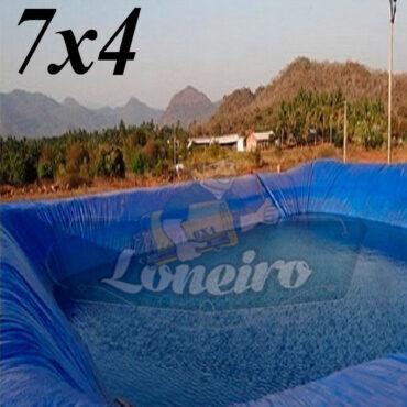 Lona 7,0 x 4,0m Azul 300 Micras Impermeável Atóxica Lagos Artificiais Tanques de Peixes Reservatórios Água Potável Cisterna Ranário Poços