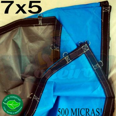 Lona 7,0 x 5,0m Loneiro 500 Micras PPPE Azul e Cinza com argolas