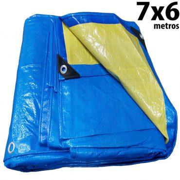 Lona 7,0 x 6,0m Azul e Amarela 150 Micra + ilhos e cantoneiras para cobertura proteção capa básica de polietileno impermeável com duas cores