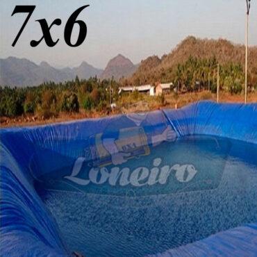 Lona 7,0 x 6,0m Azul 300 Micras Impermeável Atóxica Lagos Artificiais Tanques de Peixes Reservatórios Água Potável Cisterna Ranário Poços