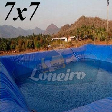 Lona 7,0 x 7,0m Azul 300 Micras Impermeável Atóxica Lagos Artificiais Tanques de Peixes Reservatórios Água Potável Cisterna Ranário Poços