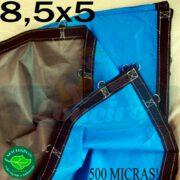 Lona 8,5 x 5,0m Loneiro 500 Micras PPPE Azul e Cinza com argolas