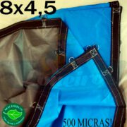 Lona 8,0 x 4,5m Loneiro 500 Micras PPPE Azul e Cinza com argolas