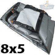 Lona 8x5 pppe 500 micra branca prata acabamento cinza argolas D inox cinta preta reforço reforçada durabilidade alta resistente loneiro