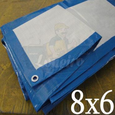 Lona 8,0 x 6,0m Azul Branco 300 Micras Impermeável Cobertura Proteção Telhado Piso Lagos Tanques Poços com ilhoses a cada 1 metro