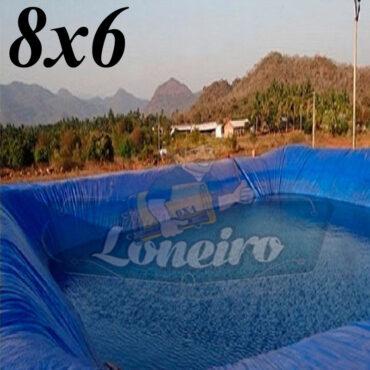Lona 8,0 x 6,0m Azul 300 Micras Impermeável Atóxica Lagos Artificiais Tanques de Peixes Reservatórios Água Potável Cisterna Ranário Poços