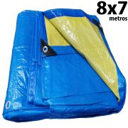 Lona 8,0 x 7,0m Azul e Amarela 150 Micra + ilhos e cantoneiras para cobertura proteção capa básica de polietileno impermeável com duas cores