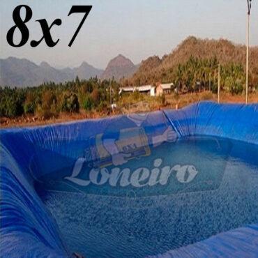 Lona 8,0 x 7,0m Azul 300 Micras Impermeável Atóxica Lagos Artificiais Tanques de Peixes Reservatórios Água Potável Cisterna Ranário Poços