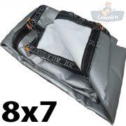 Lona 8x7 pppe 500 micra branca prata acabamento cinza argolas D inox cinta preta reforço reforçada durabilidade alta resistente loneiro