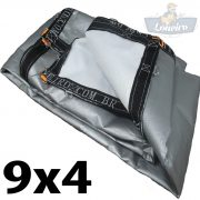 Lona 9x4 pppe 500 micra branca prata acabamento cinza argolas D inox cinta preta reforço reforçada durabilidade alta resistente loneiro