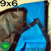 Lona 9,0 x 6,0m Loneiro 500 Micras PPPE Impermeável Azul e Cinza com argolas