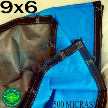 Lona 9,0 x 6,0m Loneiro 500 Micras PPPE Azul e Cinza com argolas