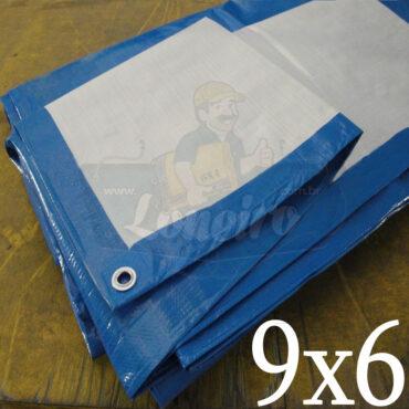 Lona 9,0 x 6,0m Azul Branco 300 Micras Impermeável Cobertura Proteção Telhado Piso Lagos Tanques Cisternas com ilhoses a cada 1 metro
