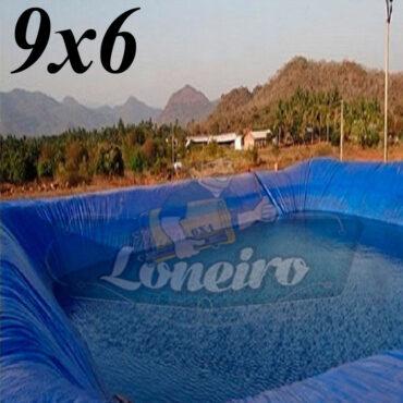 Lona 9,0 x 6,0m Azul 300 Micras Impermeável Atóxica Lagos Artificiais Tanques de Peixes Reservatórios Água Potável Cisterna Ranário Poços