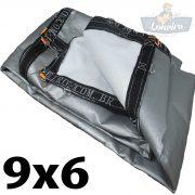 Lona 9x6 pppe 500 micra branca prata acabamento cinza argolas D inox cinta preta reforço reforçada durabilidade alta resistente loneiro