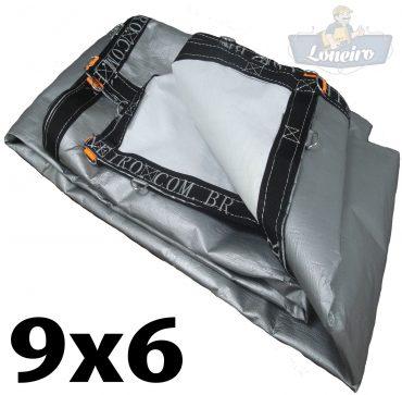 Lona 9,0 x 6,0m Loneiro 500 Micras PPPE Impermeável Branca e Prata com argolas