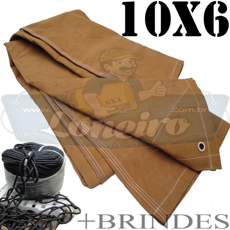 Lona: 10,0 x 6,0m Encerado Algodão C4 + 60m de Corda Preta 10mm + 60m Corda 8mm de brinde para amarrar carga!