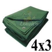 Lona 4,0 x 3,0m Encerado de Algodão Verde Impermeável para Cobertura Carga Caminhão com 4 Ilhoses