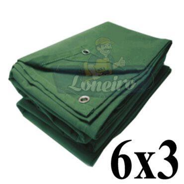 Lona 6,0 x 3,0m Encerado de Algodão Verde Impermeável para Cobertura Carga Caminhão com 4 Ilhoses