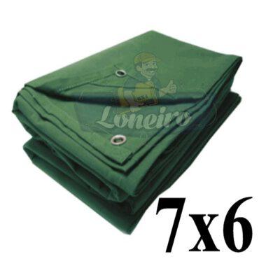 Lona 7,0 x 6,0m Encerado Verde de Algodão Impermeável para Cobertura Carga Caminhão com 4 Ilhoses