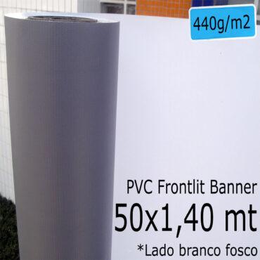 Tecido Lona: Banner 50x1,40 Metros Branco Fosco / Cinza 440 GSM Bobina PVC Vinil Rolo para Impressão Digital Banners Propagandas Fachadas Posters