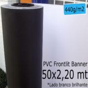 Tecido Lona: Banner 50x2,20 Metros Branco Brilhante / Preto 440 GSM Bobina PVC Vinil Rolo para Impressão Digital Banners Propagandas Fachadas Posters