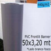 Tecido Lona: Banner 50x3,20 Metros Branco Fosco / Cinza 440 GSM Bobina PVC Vinil Rolo para Impressão Digital Banners Propagandas Fachadas Posters