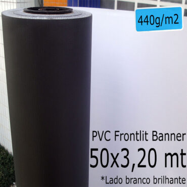 Tecido Lona: Banner 50x3,20 Metros Branco Brilhante / Preto 440 GSM Bobina PVC Vinil Rolo para Impressão Digital Banners Propagandas Fachadas Posters