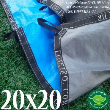 Lona: 20,0 x 20,0m Loneiro 500 Micras PPPE Azul e Cinza com Alças reforçadas a cada 1 metro Resistente Cobertura Proteção Talude