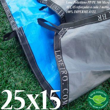 Lona: 25,0 x 15,0m Loneiro 500 Micras PPPE Azul e Cinza com Alças reforçadas a cada 1 metro Resistente Cobertura Proteção Talude
