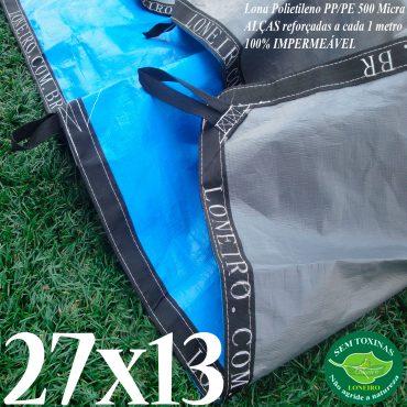 Lona: 27,0 x 13,0m Loneiro 500 Micras PPPE Azul e Cinza com Alças reforçadas a cada 1 metro Resistente Cobertura Proteção Talude