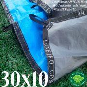 Lona: 30,0 x 10,0m Loneiro 500 Micras PPPE Azul e Cinza com Alças reforçadas a cada 1 metro Resistente Cobertura Proteção Talude