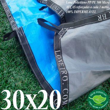 Lona: 30,0 x 20,0m Loneiro 500 Micras PPPE Azul e Cinza com Alças reforçadas a cada 1 metro Resistente Cobertura Proteção Talude