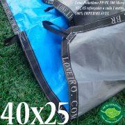 Lona: 40,0 x 25,0m Loneiro 500 Micras PPPE Azul e Cinza com bainha reforçada e Alças de segurança a cada 1 metro!