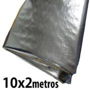 Lona: 10,0 x 2,0m Loneiro 300 Micras Metalizada de um lado e Branca do outro sem acabamento para estufa grow jardim cultivo indoor de plantas