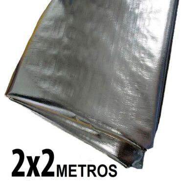 Lona 2,0 x 2,0m Loneiro 300 Micras Metalizada de um lado e Branca do outro sem acabamento para estufa grow jardim cultivo indoor de plantas