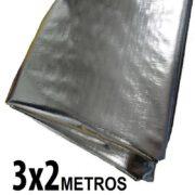 Lona 3,0 x 2,0m Loneiro 300 Micras Metalizada de um lado e Branca do outro sem acabamento para estufa grow jardim cultivo indoor de plantas