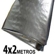 Lona 4,0 x 2,0m Loneiro 300 Micras Metalizada de um lado e Branca do outro sem acabamento para estufa grow jardim cultivo indoor de plantas