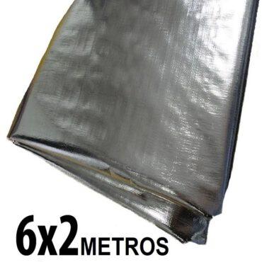 Lona 6,0 x 2,0m Loneiro 300 Micras Metalizada de um lado e Branca do outro sem acabamento para estufa grow jardim cultivo indoor de plantas